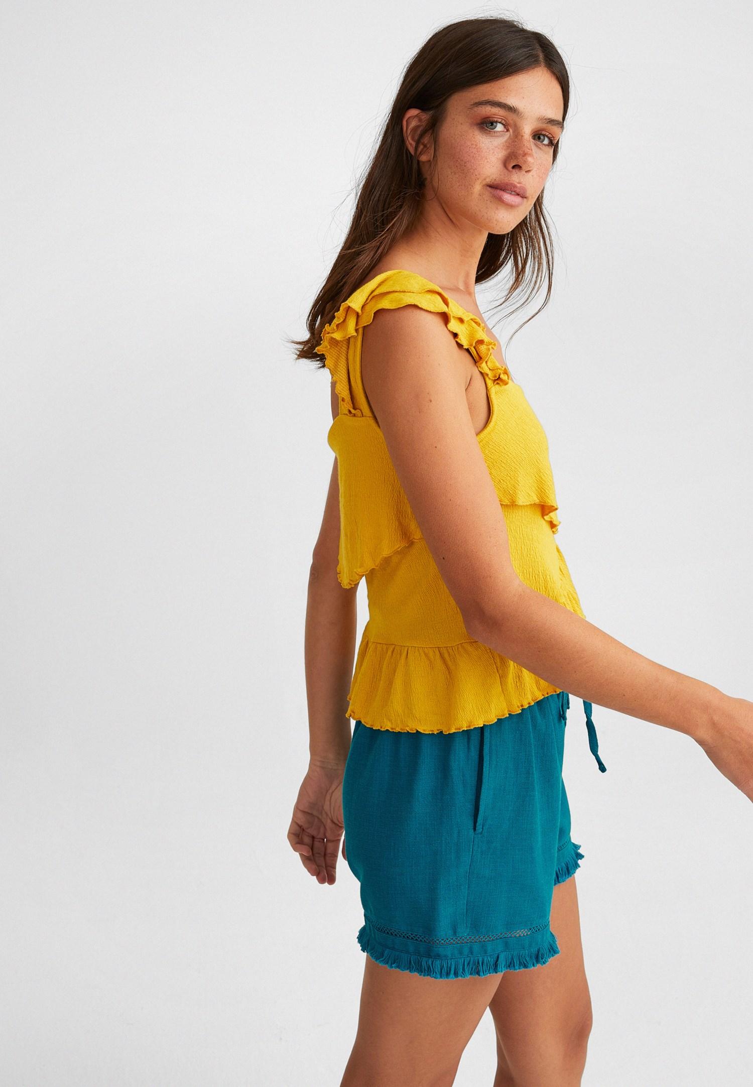 Bayan Sarı Fırfırlı Bluz