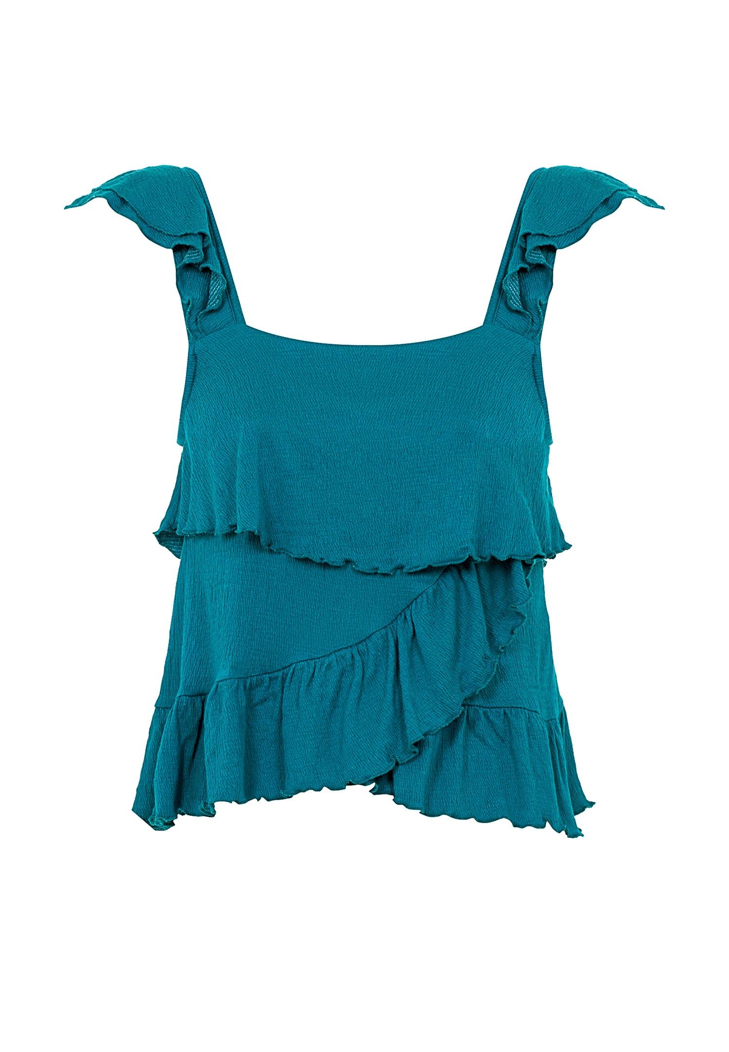 Bayan Mavi Fırfırlı Bluz