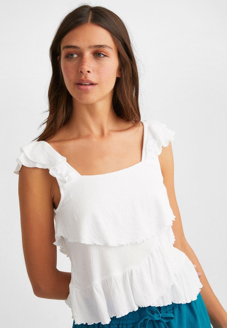 Beyaz Fırfırlı Bluz
