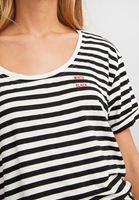Bayan Çok Renkli Çizgili U Yaka Tişört