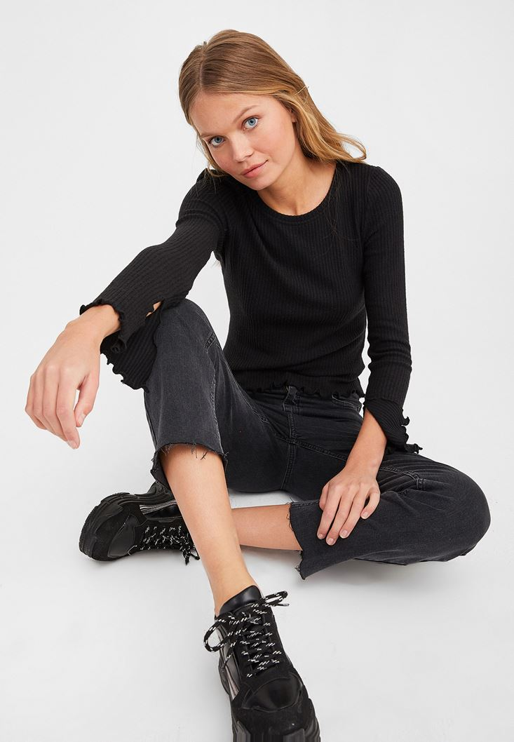 Black Slit Detailed Long Sleeve Knitwear