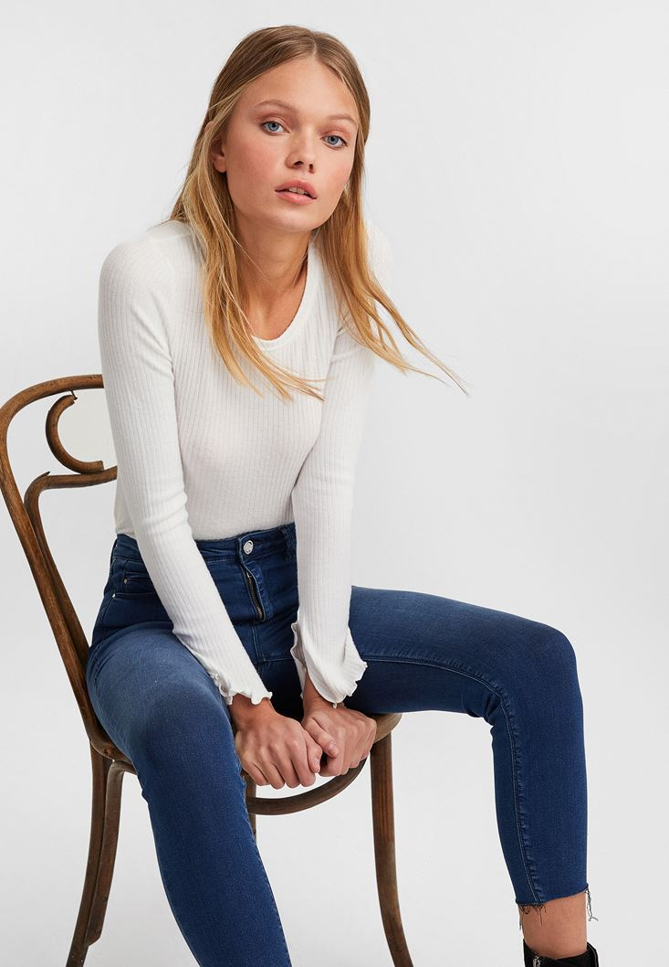 Cream Slit Detailed Long Sleeve Knitwear
