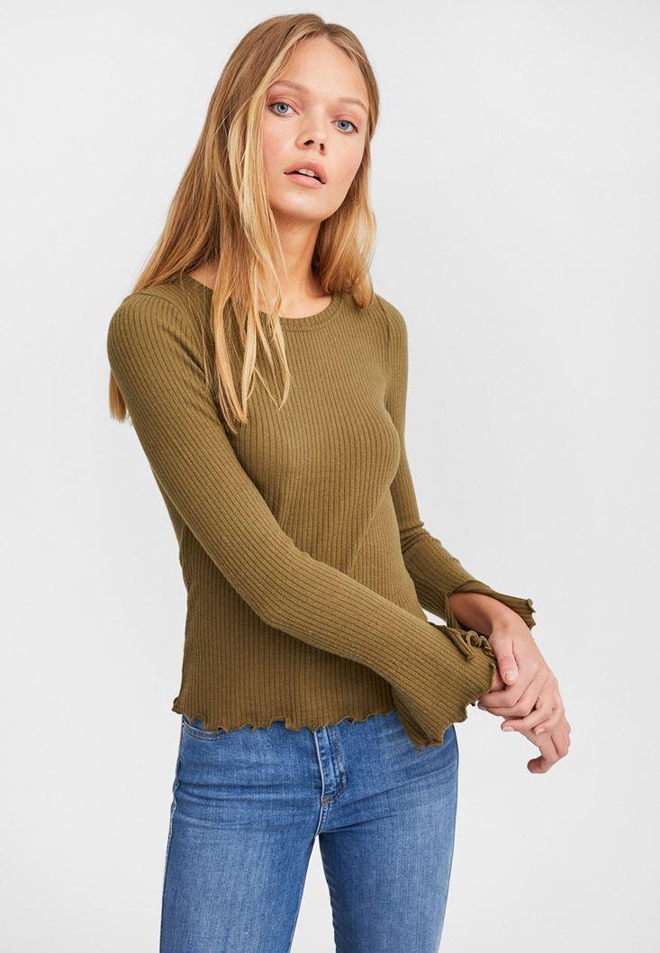 Green Slit Detailed Long Sleeve Knitwear