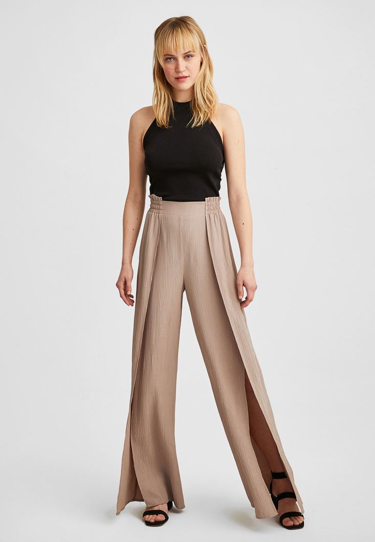 Brown Wide Leg Trousers with Slit Details