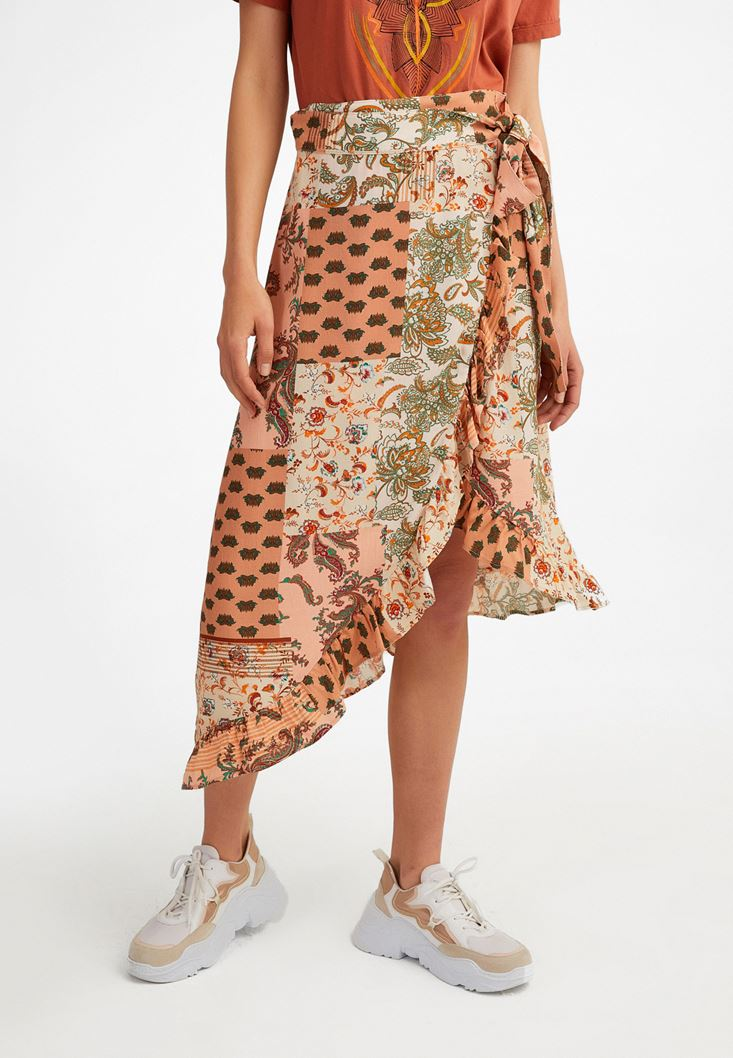 Mixed Frilled Midi Skirt