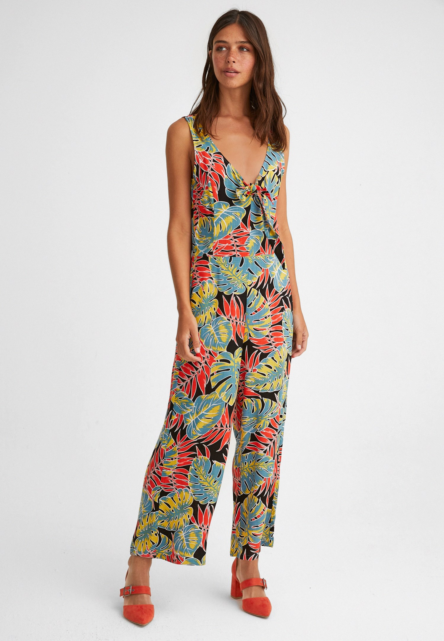 Women Mixed Jumpsuit with Pattern