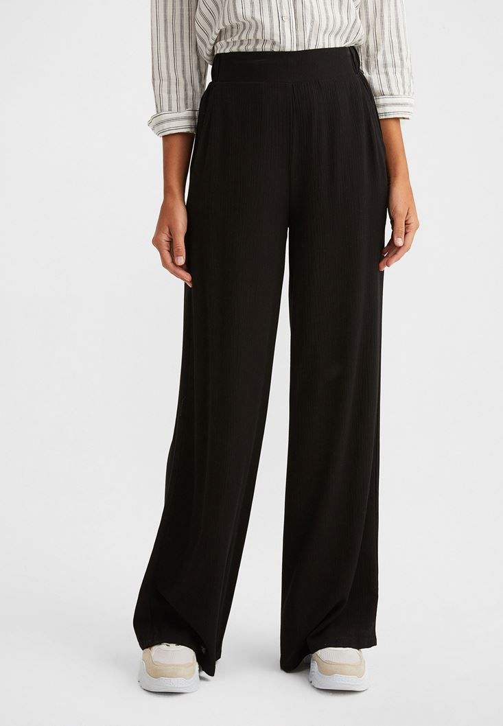 Black High-Waisted Wide Trousers