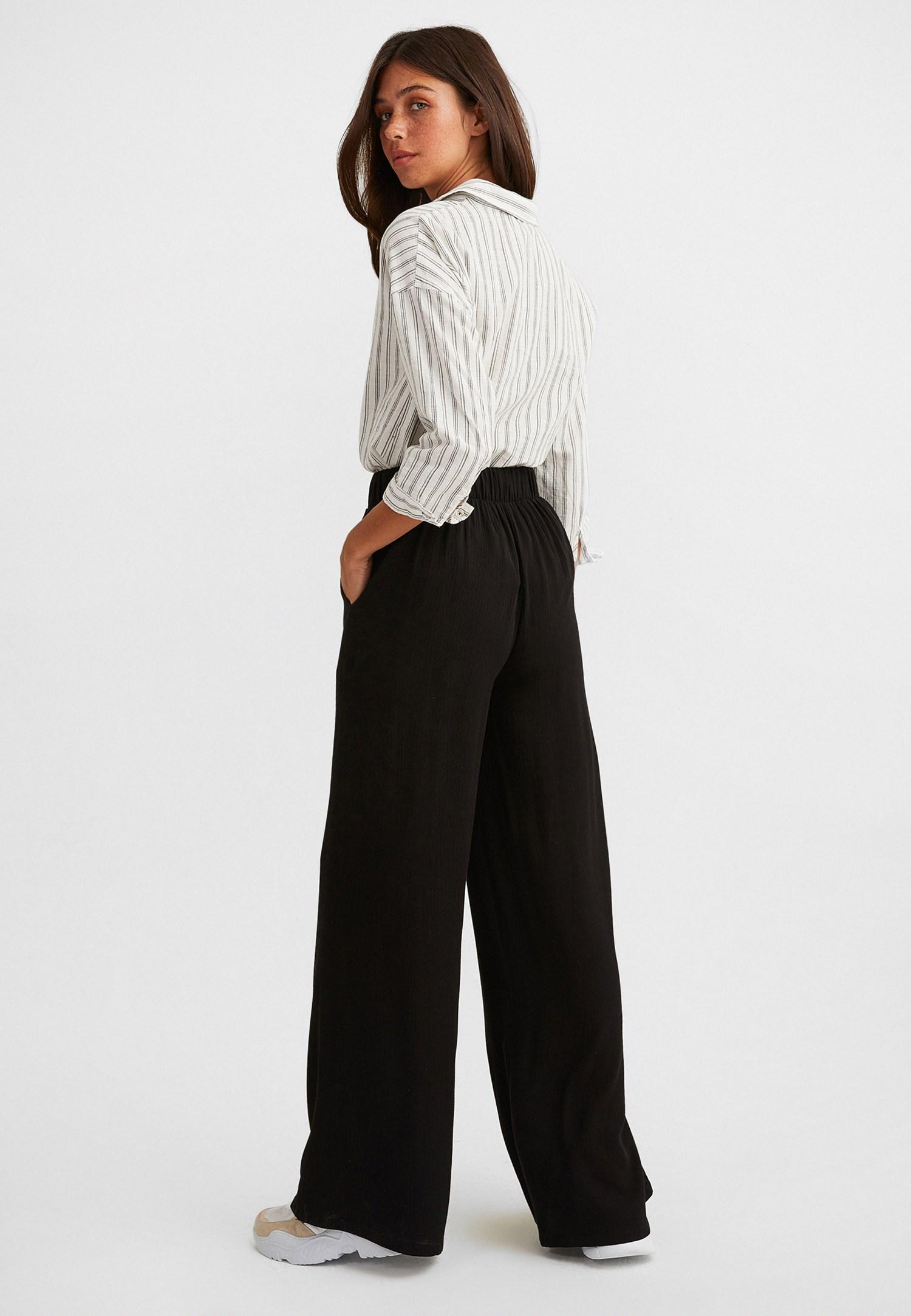 Bayan Siyah Yüksek Bel Bol Paça Pantolon
