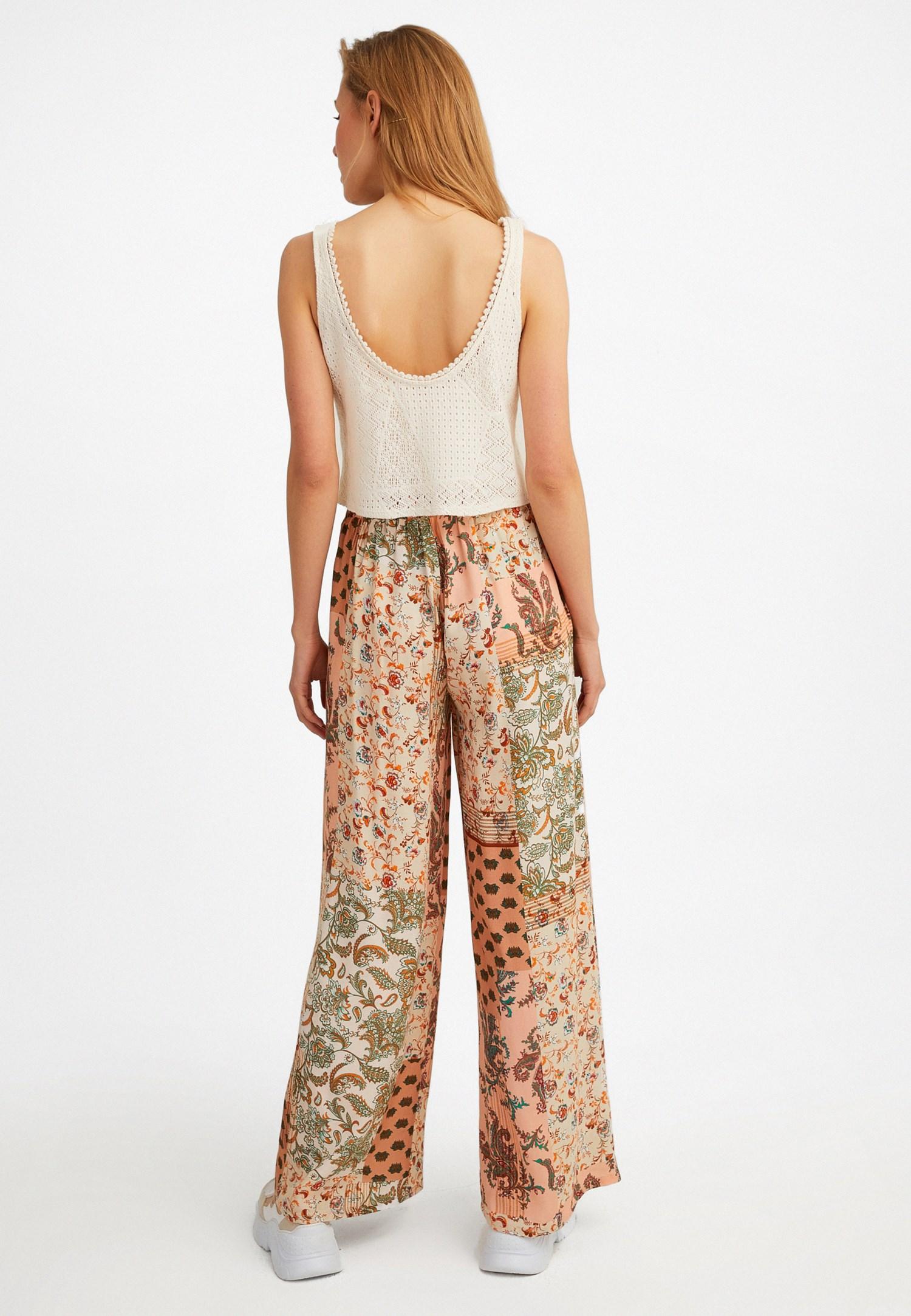Bayan Çok Renkli Beli Bağlamalı Bol Pantolon