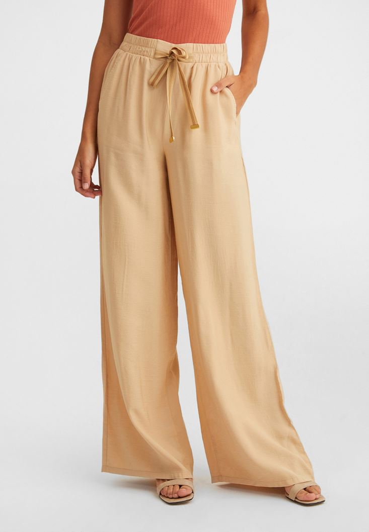 Cream Wide-Leg Trousers with Drawstring