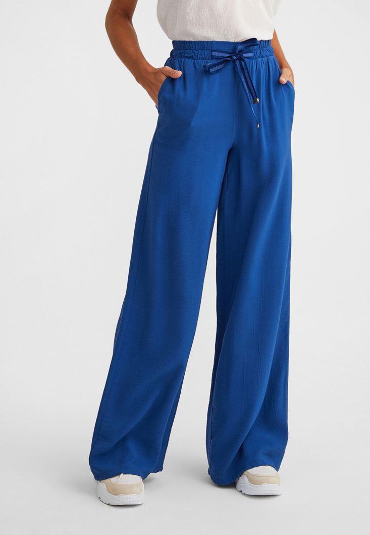 Mavi Beli Bağlamalı Bol Paça Pantolon