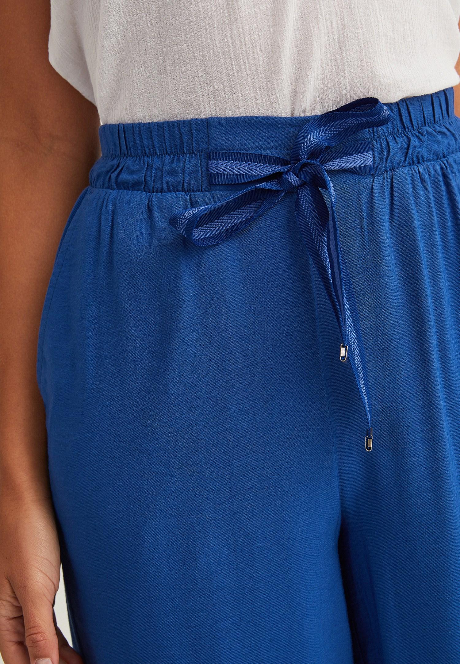 Bayan Mavi Beli Bağlamalı Bol Paça Pantolon