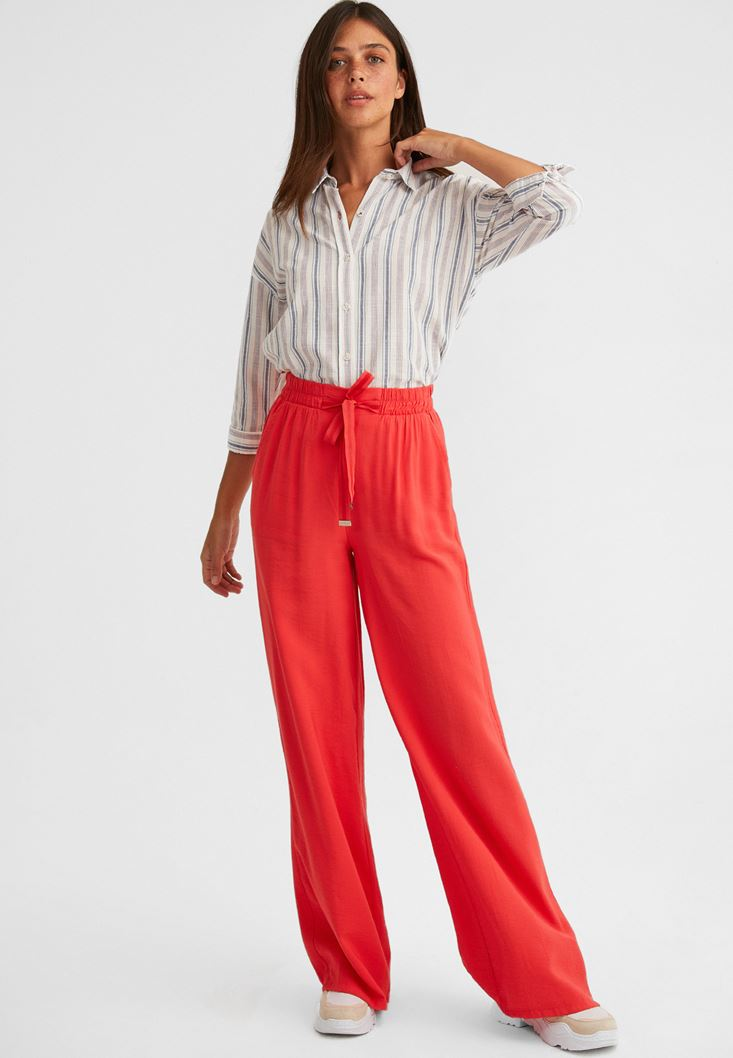 Orange Wide-Leg Trousers with Drawstring