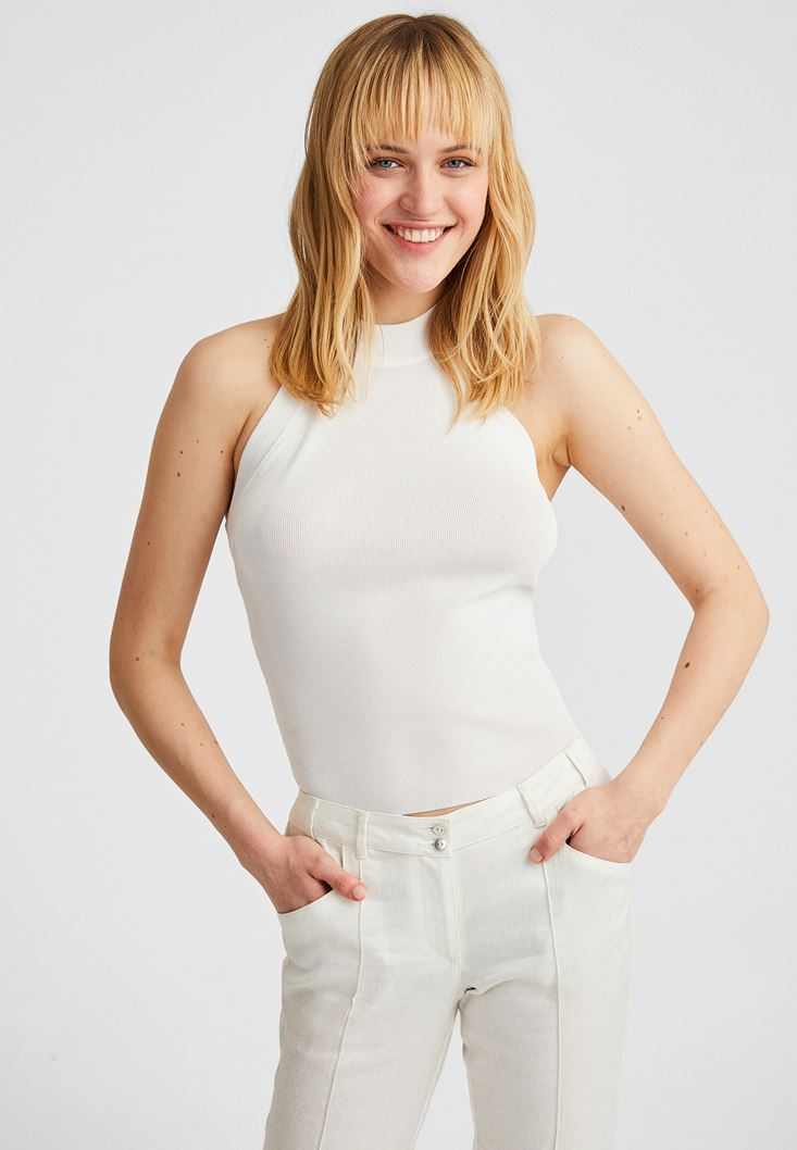 Cream Halter Neck Tank