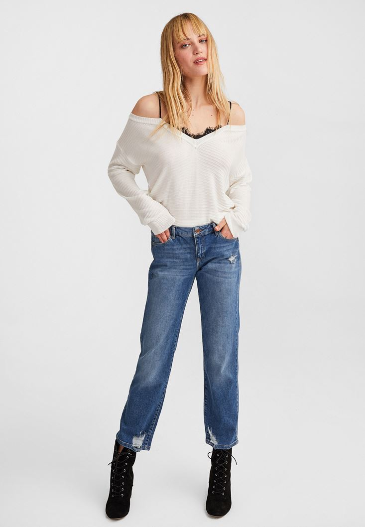 Cream Off-Shoulder V-Neck Pullover
