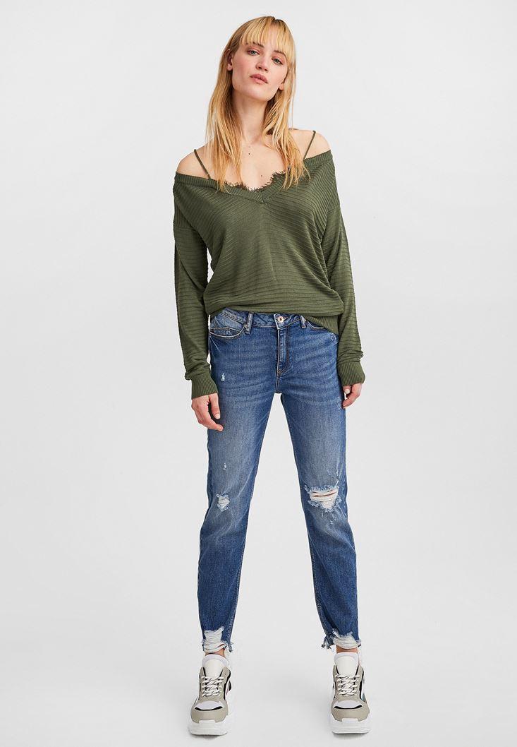 Green Off-Shoulder V-Neck Pullover