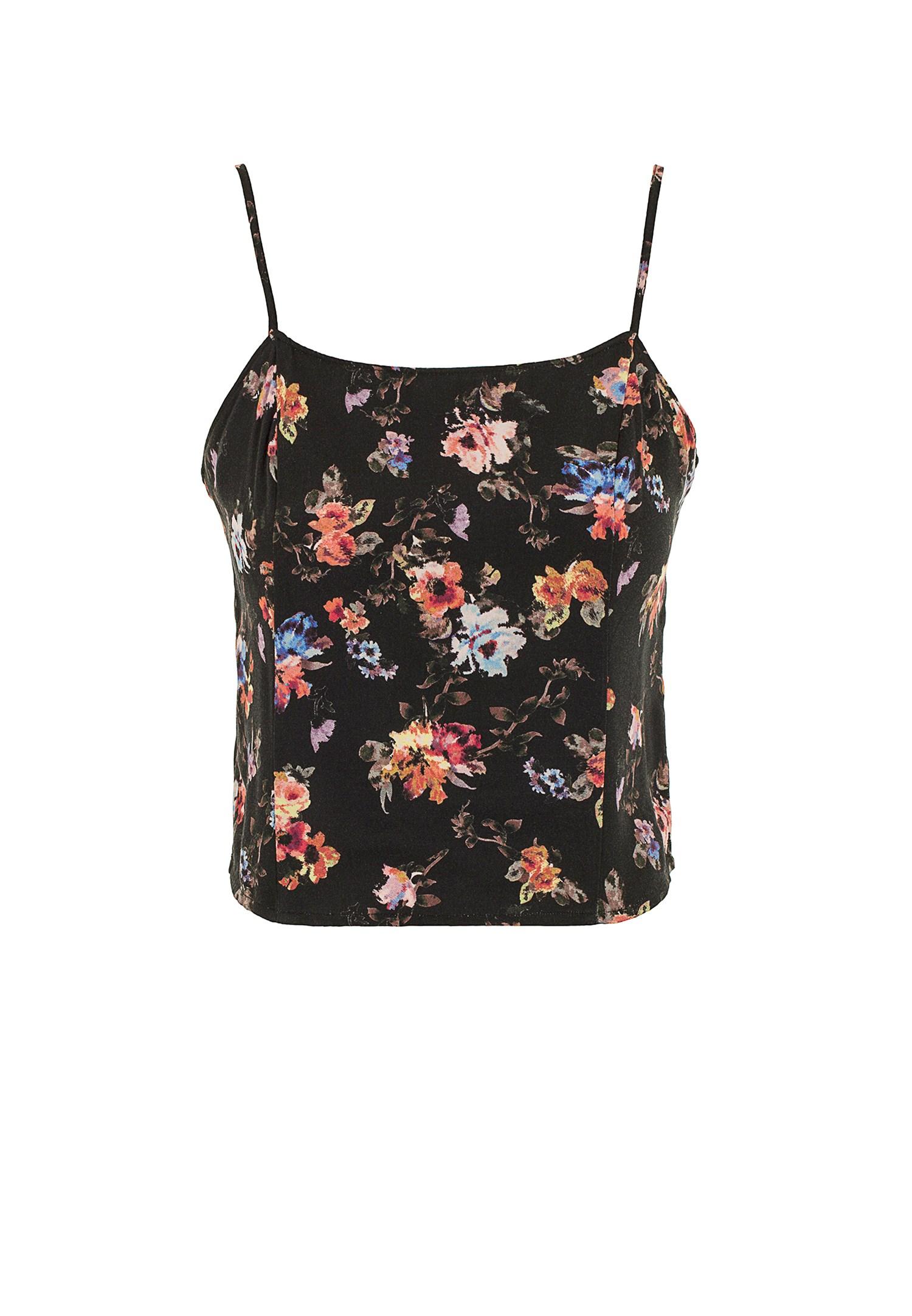 Bayan Çok Renkli İnce Askılı Çiçek Desenli Bluz