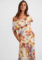 Bayan Çok Renkli Desenli Tek Omuzlu Viskon Bluz