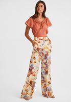 Bayan Çok Renkli Yüksek Bel Bol Paça Pantolon