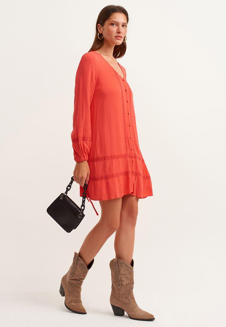 Turuncu Dantel Detaylı Mini Elbise