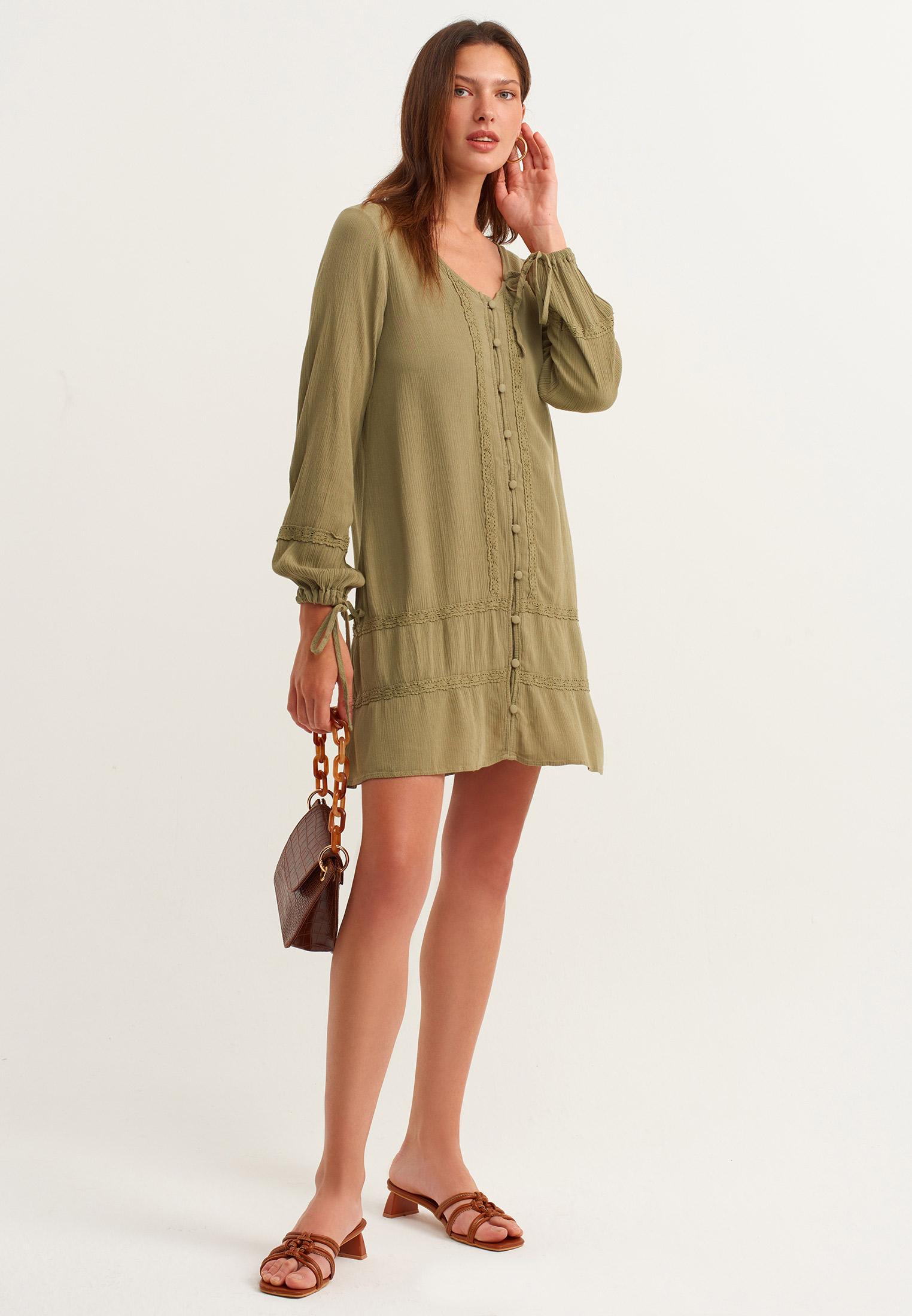 Bayan Yeşil Dantel Detaylı Mini Elbise