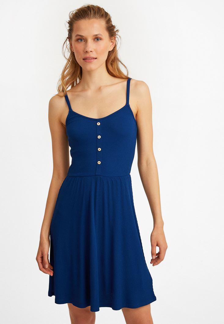 Lacivert İnce Askılı V Yaka Elbise