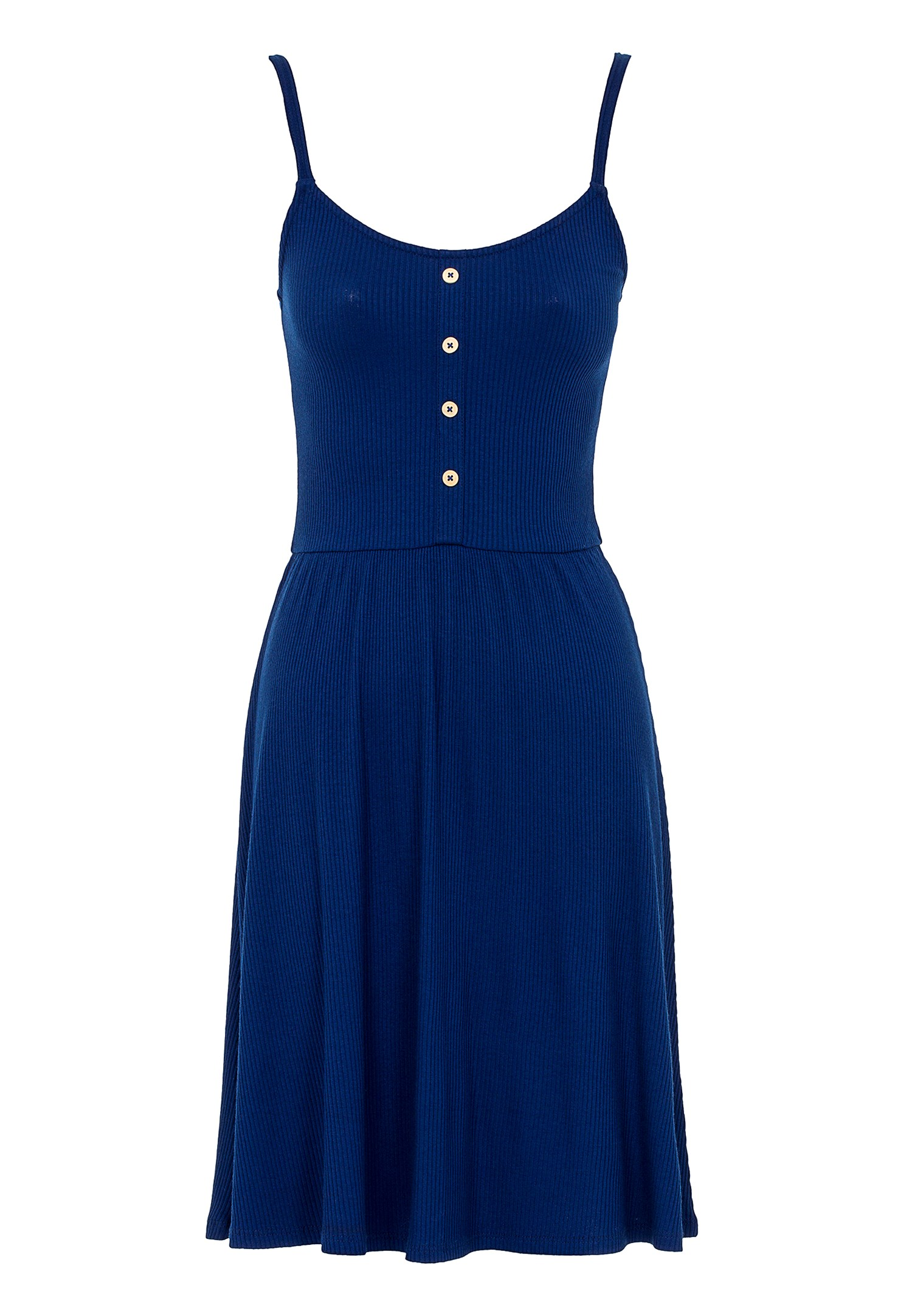 Bayan Lacivert İnce Askılı V Yaka Elbise
