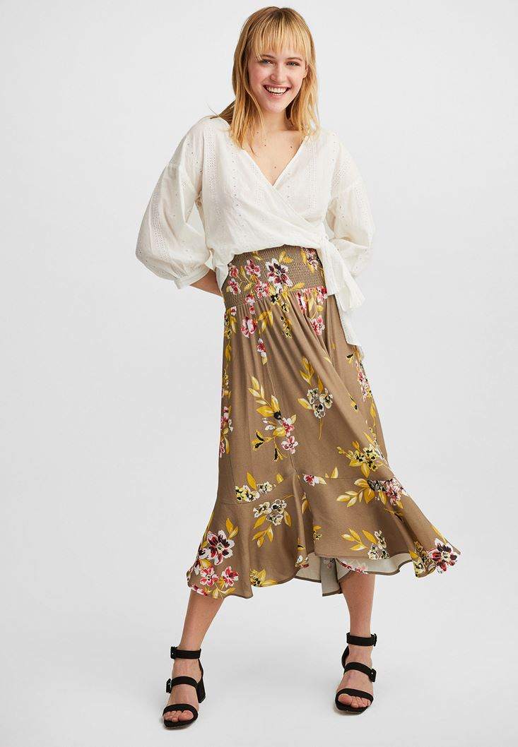 Mixed Pleated Maxi Skirt