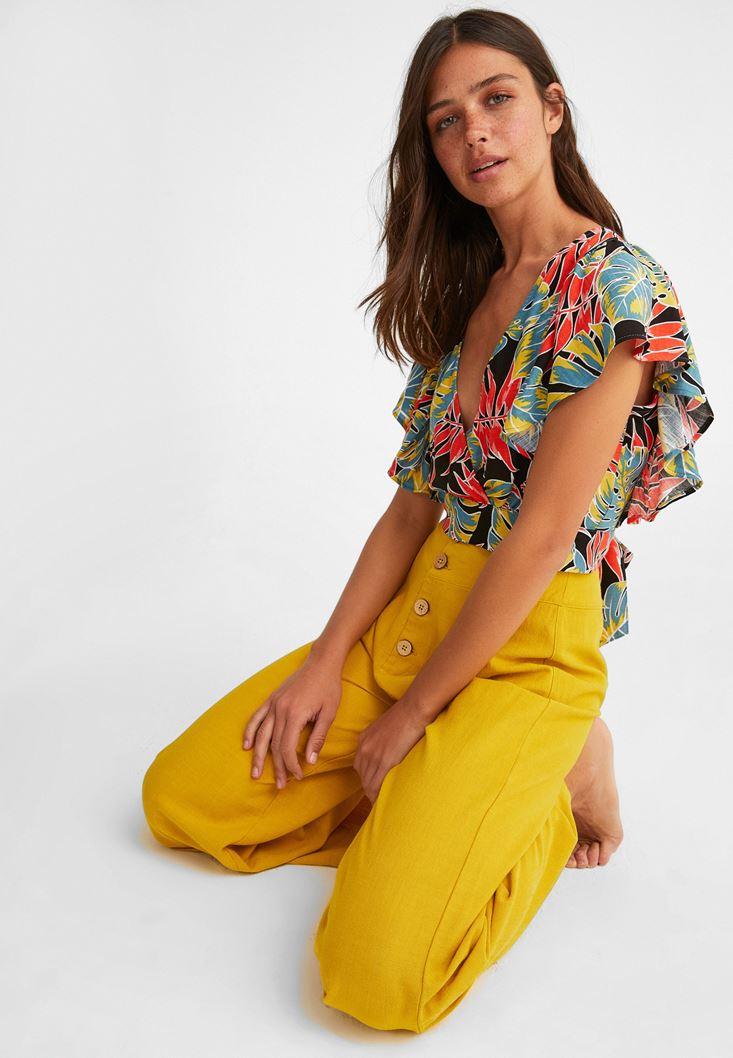Çok Renkli Desenli Kruvaze Bluz