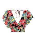 Bayan Çok Renkli Desenli Kruvaze Bluz