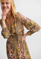 Bayan Çok Renkli Çiçekli Uzun Elbise