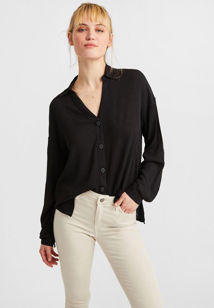 Siyah V Yaka Viskon Gömlek