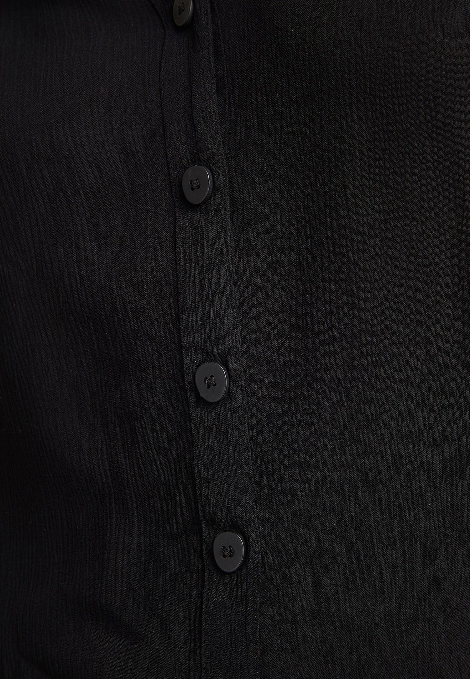 Bayan Siyah V Yaka Viskon Gömlek