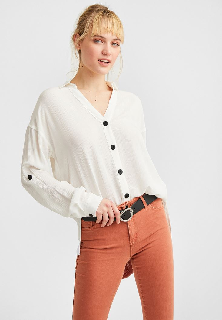 Cream V-Neck Shirt