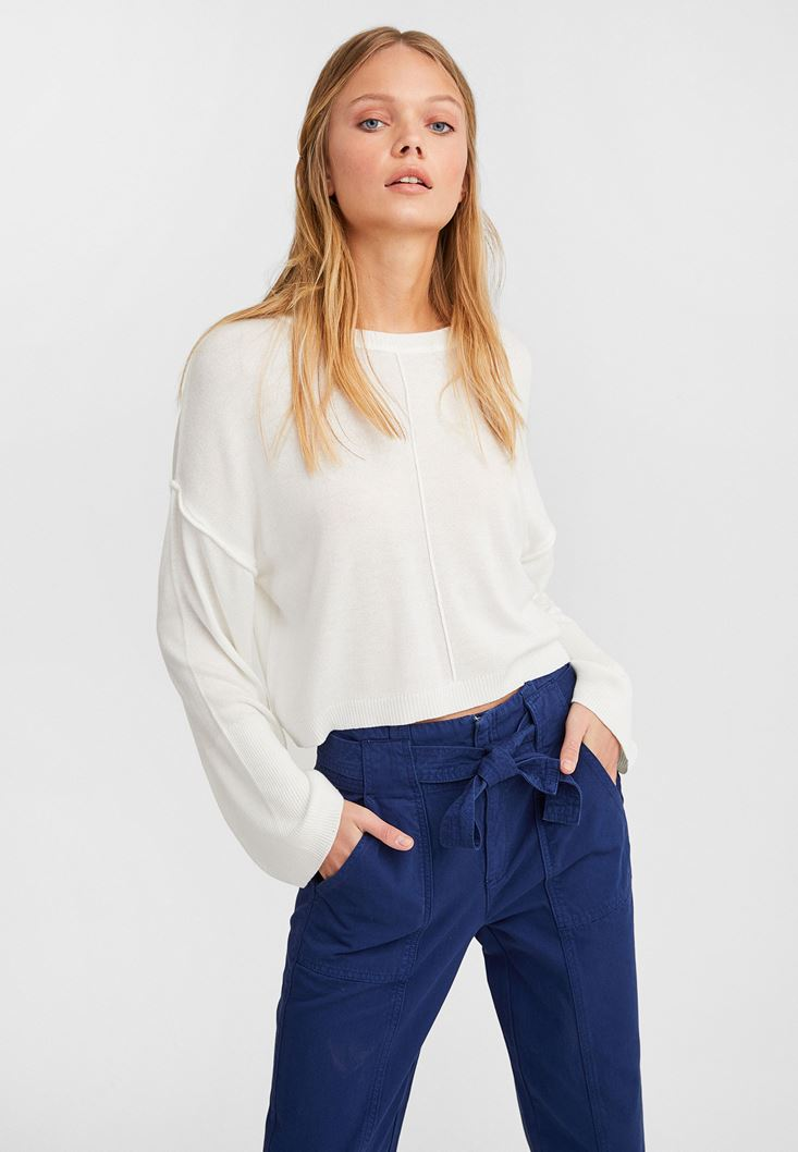 Cream Boot Neck Cropped Knitwear