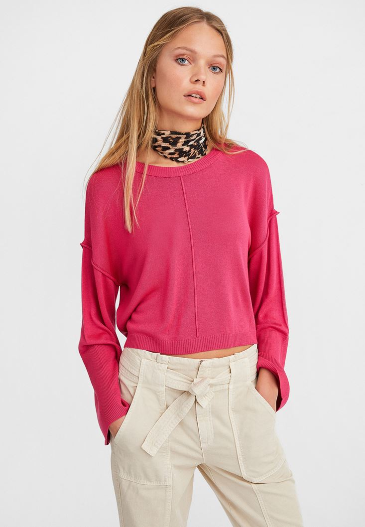 Pink Boot Neck Cropped Knitwear