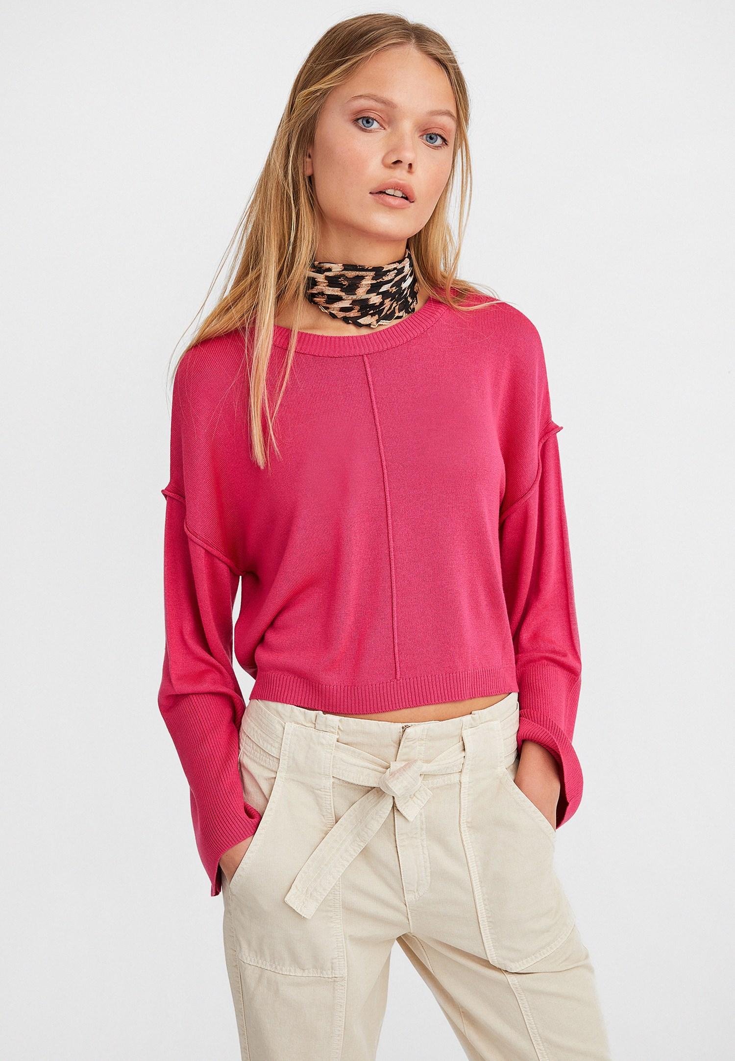 e4d232bcedbd Pink Boot Neck Cropped Knitwear Online Shopping | OXXOSHOP