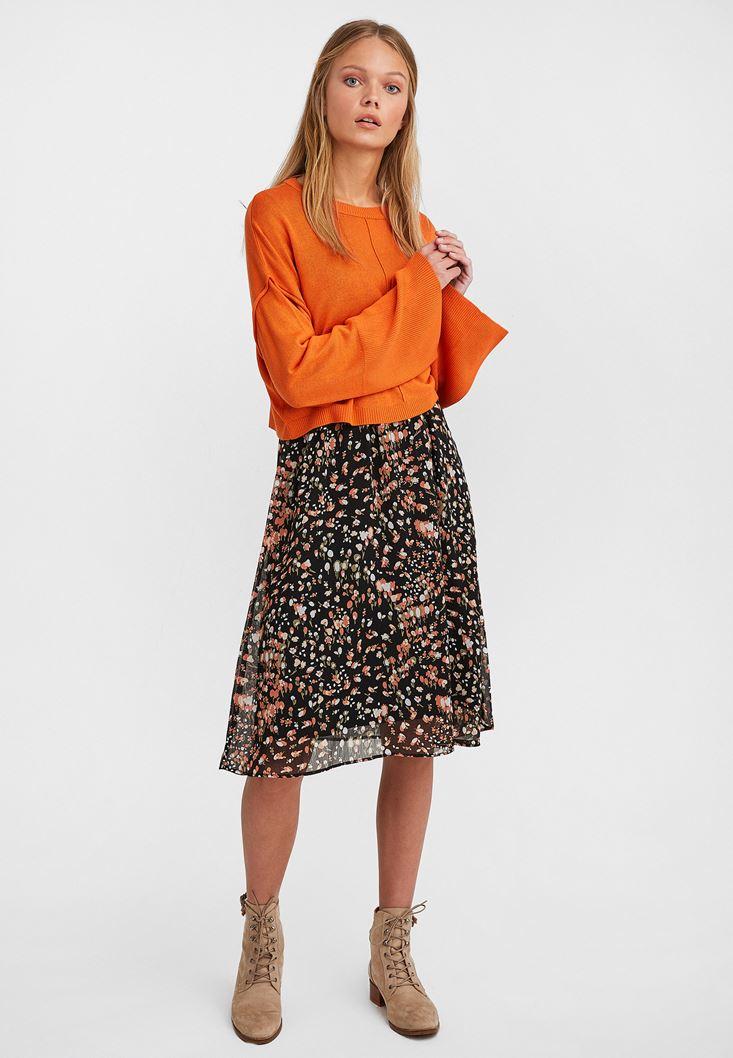 Orange Boot Neck Cropped Knitwear