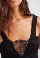 Bayan Siyah Dantelli V Yaka Triko Bluz