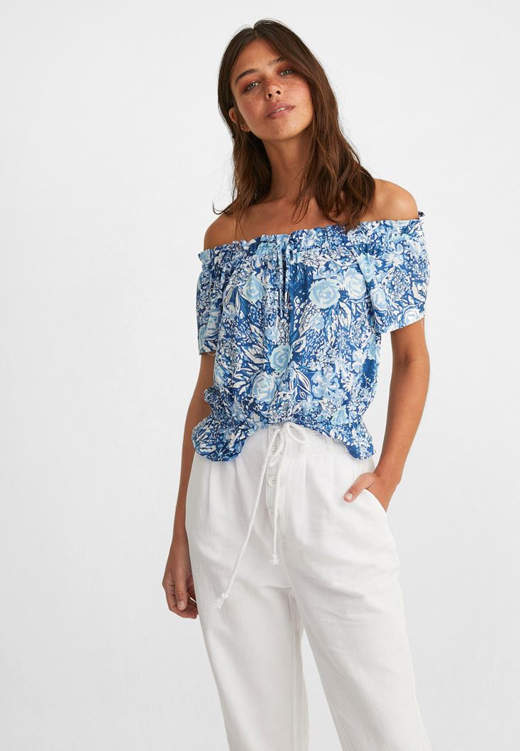 Mixed Off-Shoulder Blouse with Pattern