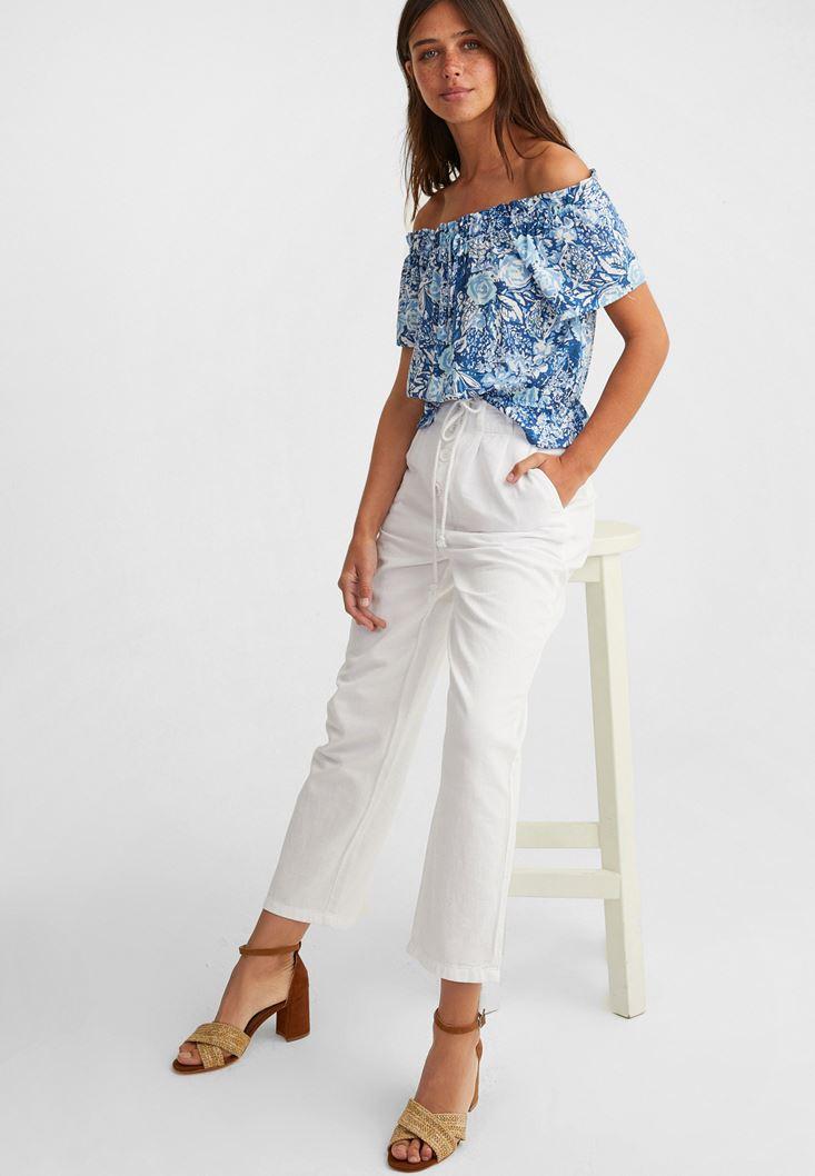 Düşük Omuzlu Bluz ve Pantolon Kombini