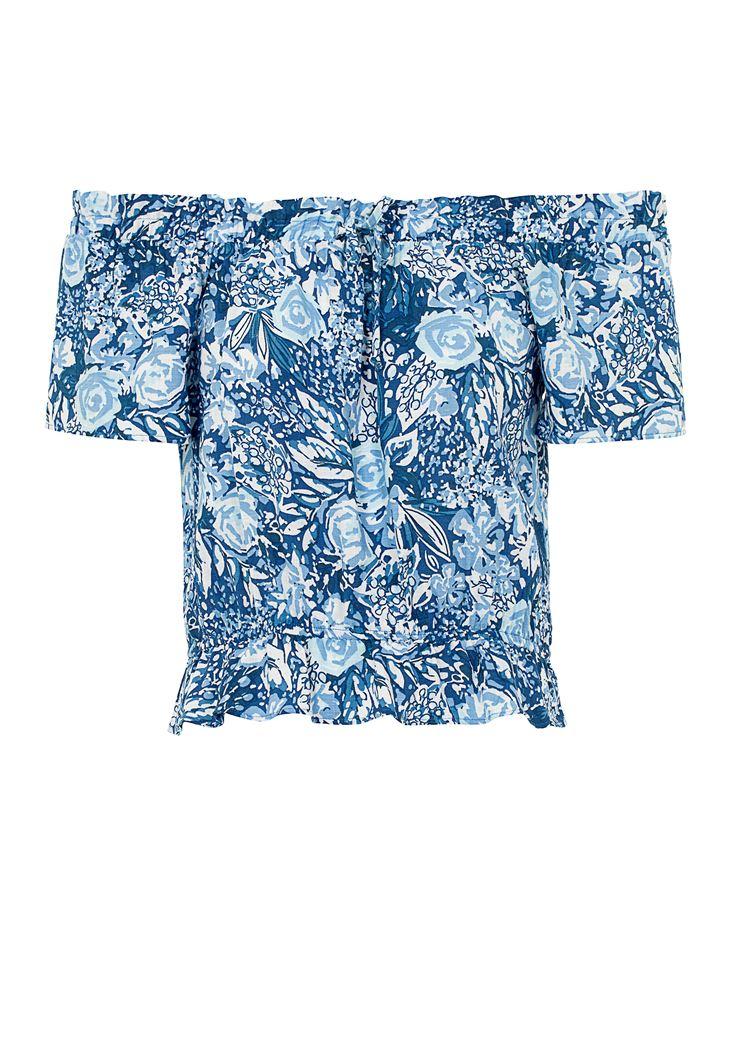 Desenli Düşük Omuz Bluz