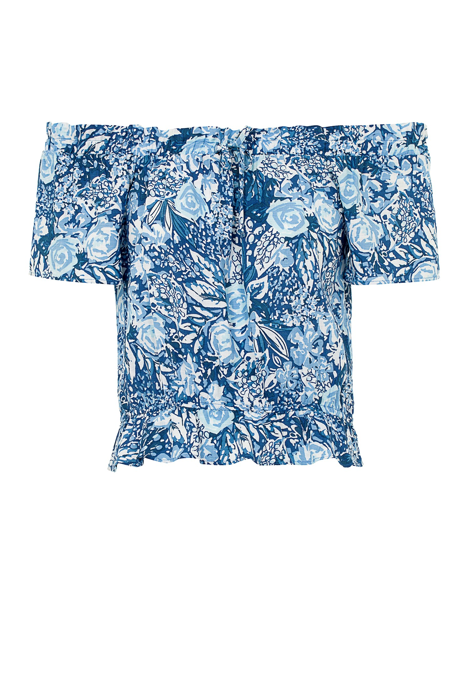 Bayan Çok Renkli Desenli Düşük Omuz Bluz