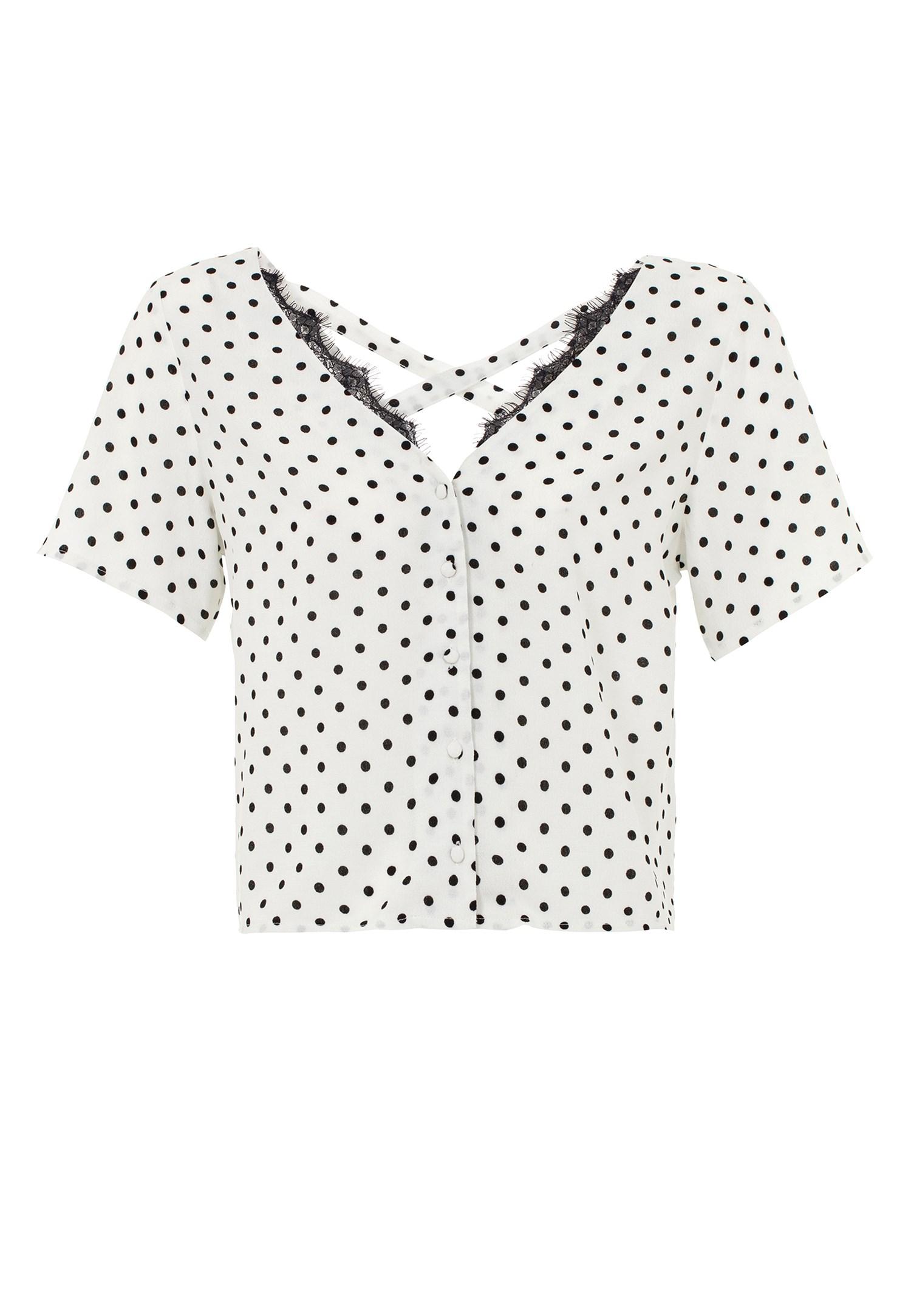 Bayan Siyah Puantiye Desenli Düğmeli Bluz