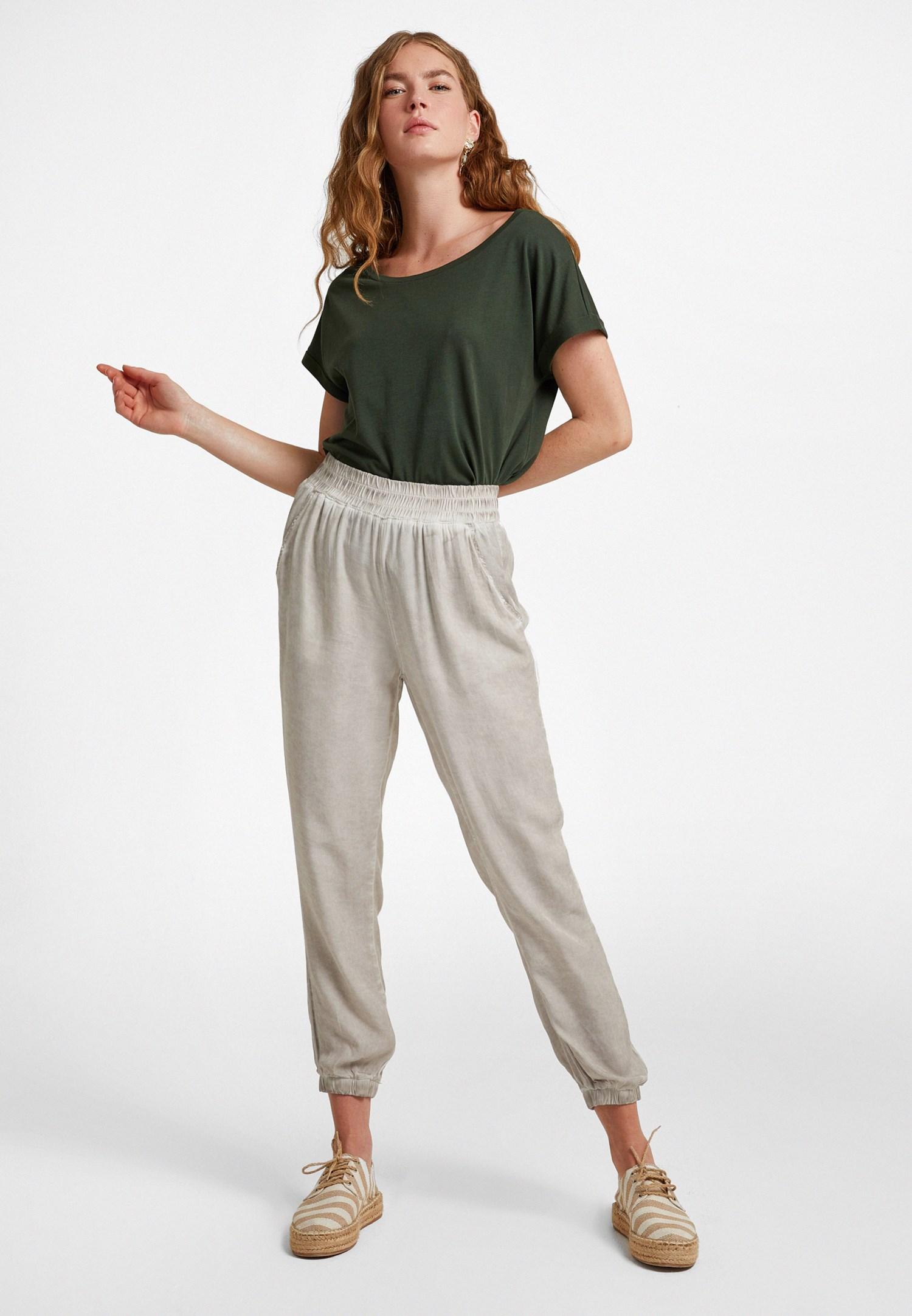 Bayan Krem Beli Lastikli Jogger Pantolon