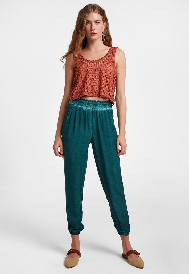 Green Elastic-Waisted Jogger