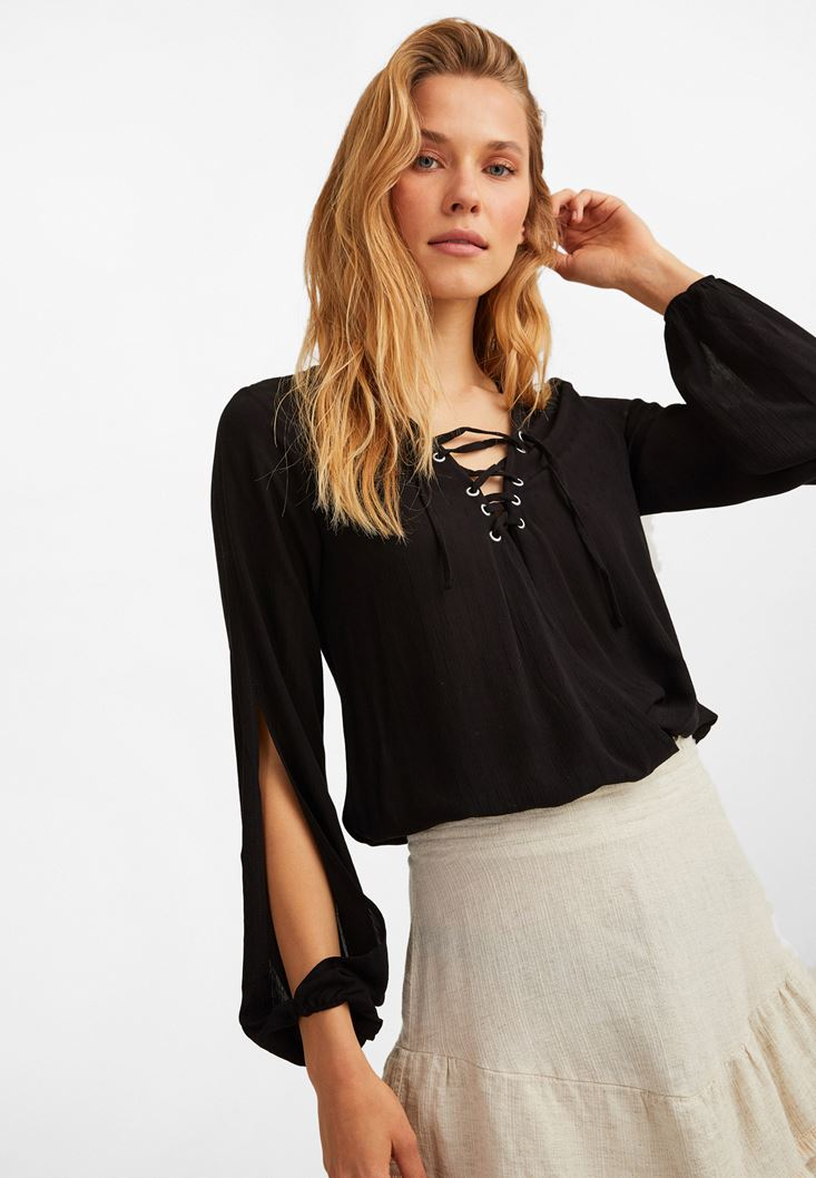 Black Long Sleeve Blouse with Lace Up Detail