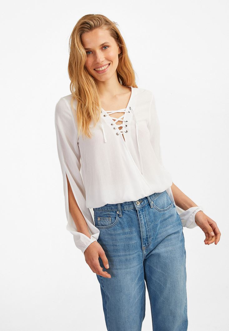 Cream Long Sleeve Blouse with Lace Up Detail