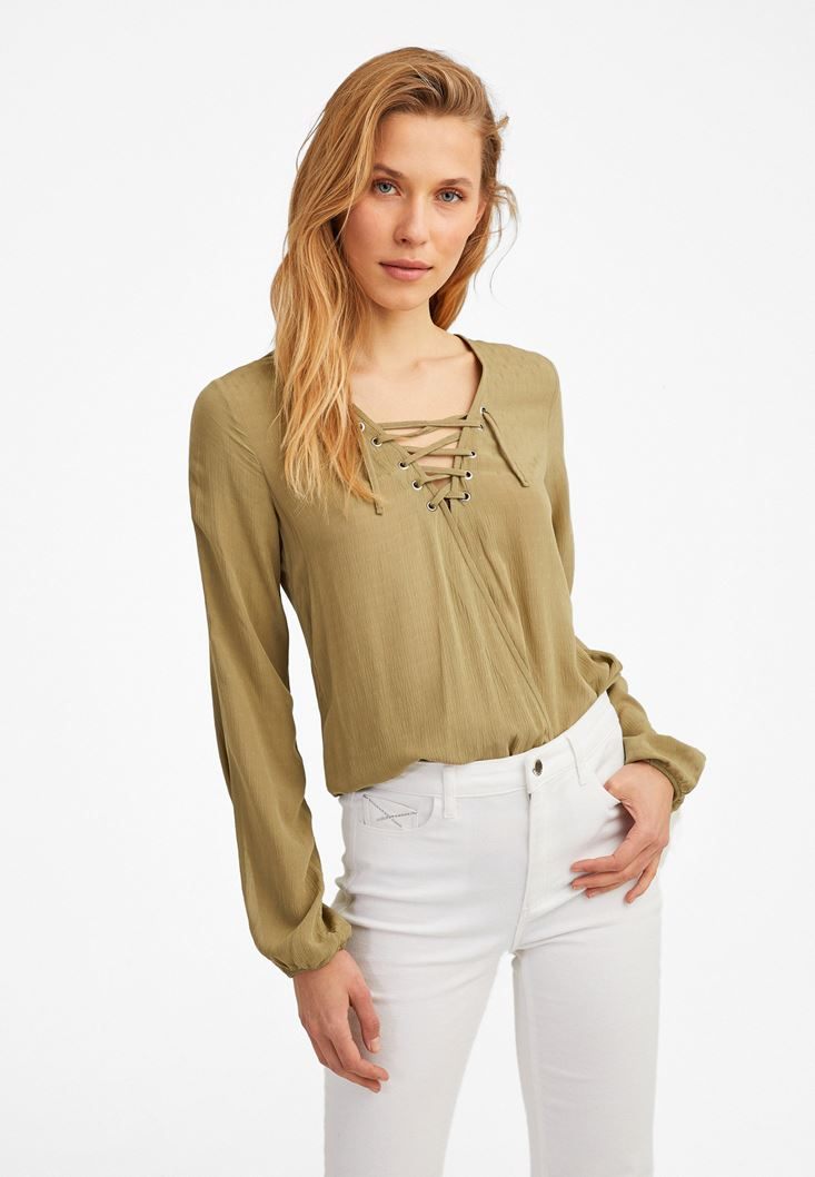 Green Long Sleeve Blouse with Lace Up Detail