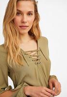 Bayan Yeşil Bağlamalı ve Kol Detaylı Kruvaze Bluz